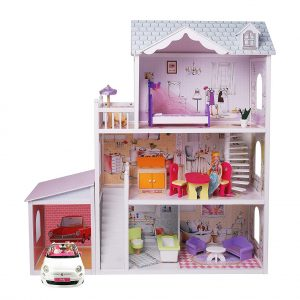 Poppenhuis met Garage Hout